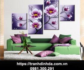 Tranh Dinh Da Bo Tranh Hoa Lan Tim 4 Buc Tdf 2581