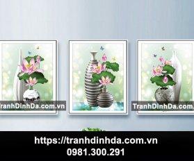 Tranh Hoa Sen 3 Buc Tdf2711