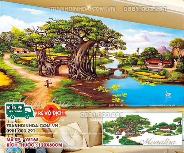 Tranh đính đá làng quê Việt Nam gốc đa cổng làng y8168 kích thước 120x60cm
