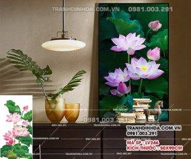 Tranh Dinh Da Hoa Sen Dep Lv246